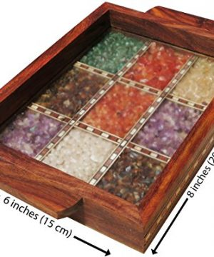 Handicraft Store Serving Tray Made With Decorative Crushed Gem Stones In Design Of Nine Squares Must For Home Dining Purpose 0 0 300x360