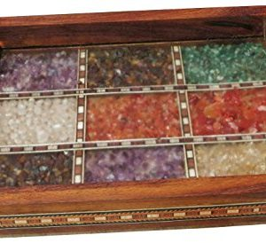 Handicraft Store Serving Tray Made With Decorative Crushed Gem Stones In Design Of Nine Squares Must For Home Dining Purpose 0 1 300x274