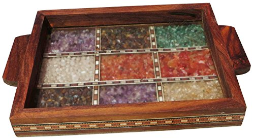 Handicraft Store Serving Tray Made With Decorative Crushed Gem Stones In Design Of Nine Squares Must For Home Dining Purpose 0 1