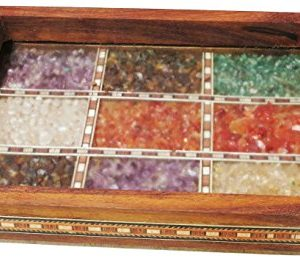 Handicraft Store Serving Tray Made With Decorative Crushed Gem Stones In Design Of Nine Squares Must For Home Dining Purpose 0 2 300x264