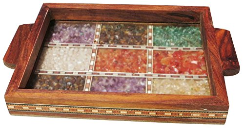Handicraft Store Serving Tray Made With Decorative Crushed Gem Stones In Design Of Nine Squares Must For Home Dining Purpose 0 2