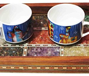 Handicraft Store Serving Tray Made With Decorative Crushed Gem Stones In Design Of Nine Squares Must For Home Dining Purpose 0 3 300x258