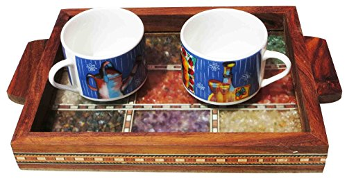 Handicraft Store Serving Tray Made With Decorative Crushed Gem Stones In Design Of Nine Squares Must For Home Dining Purpose 0 3