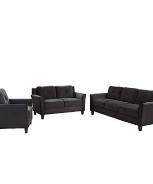 Harper Bright Designs Living Room 3 Piece Sofa Couch Set3 Seats Loveseat Single Chair Sectional Sofa Set Black 0 0 300x360