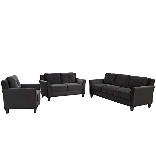 Harper Bright Designs Living Room 3 Piece Sofa Couch Set3 Seats Loveseat Single Chair Sectional Sofa Set Black 0 0