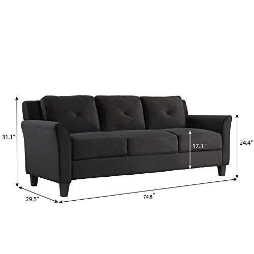 Harper Bright Designs Living Room 3 Piece Sofa Couch Set3 Seats Loveseat Single Chair Sectional Sofa Set Black 0 1