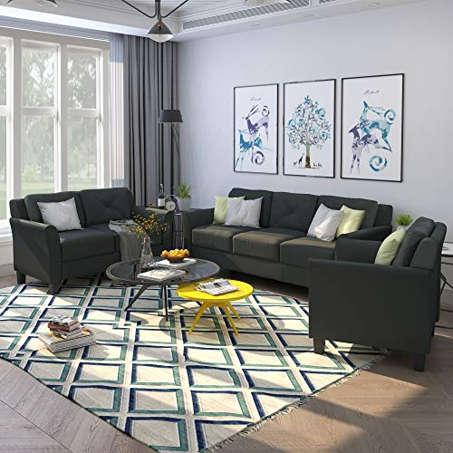 Harper Bright Designs Living Room 3 Piece Sofa Couch Set3 Seats Loveseat Single Chair Sectional Sofa Set Black 0