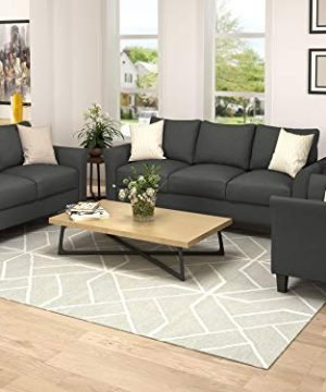 Harper Bright Designs Living Room Furniture Set Of 3 Small Armrest Chair Loveseat 3 Seat Sofa Couch Set Dark Grey 0 0 300x360