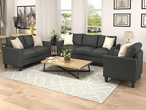 Harper Bright Designs Living Room Furniture Set Of 3 Small Armrest Chair Loveseat 3 Seat Sofa Couch Set Dark Grey 0 0