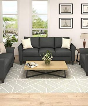 Harper Bright Designs Living Room Furniture Set Of 3 Small Armrest Chair Loveseat 3 Seat Sofa Couch Set Dark Grey 0 300x360