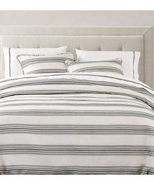 HiEnd Accents BlackBerry 3 PC Farmhouse Black White Stripe Bedding Set Super Queen 0 1 300x360