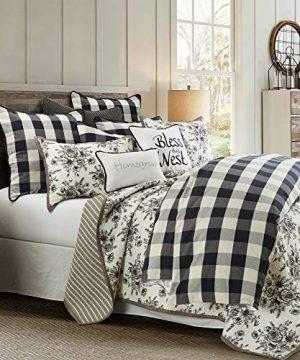 HiEnd Accents Camille Farmhouse Bedding Set Super Queen Black White Buffalo Check 3 PC 0 300x360