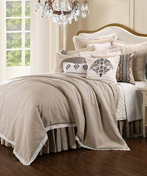 HiEnd Accents Charlotte Farmhouse Style Comforter Set Super Queen Taupe 4 PC 0 300x360