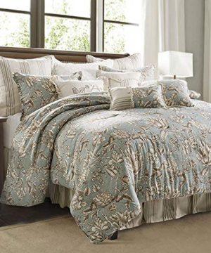 HiEnd Accents Gramercy 4 PC Jacobean Floral Comforter Set Super King Sage Taupe Vintage White 0 300x360