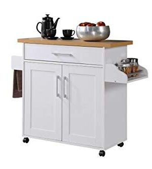Hodedah Kitchen Island With Spice Rack Towel Rack Drawer White With Beech Top 0 300x333