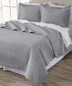 Home Fashion Designs 2 Piece All Season Quilt Set Twin Size Quilt With 1 Sham Soft Microfiber Bedspread And Coverlet Emerson Collection Pewter 0 300x360