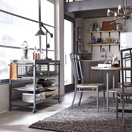 Home Styles Barnside Metro Contemporary Mixed Media Metal And Wood Kitchen Cart With Heavy Duty Casters 0 0