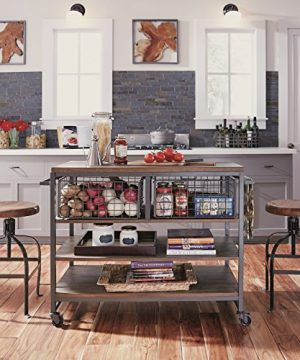 Home Styles Barnside Metro Contemporary Mixed Media Metal And Wood Kitchen Cart With Heavy Duty Casters 0 1 300x360