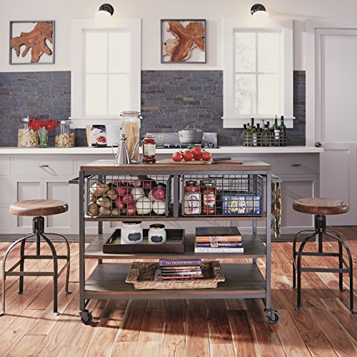 Home Styles Barnside Metro Contemporary Mixed Media Metal And Wood Kitchen Cart With Heavy Duty Casters 0 1