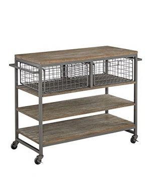 Home Styles Barnside Metro Contemporary Mixed Media Metal And Wood Kitchen Cart With Heavy Duty Casters 0 300x360