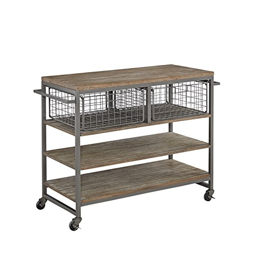 Home Styles Barnside Metro Contemporary Mixed Media Metal And Wood Kitchen Cart With Heavy Duty Casters 0