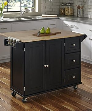 Home Styles Liberty Kitchen Cart With Wood Top Black 0 0 300x360