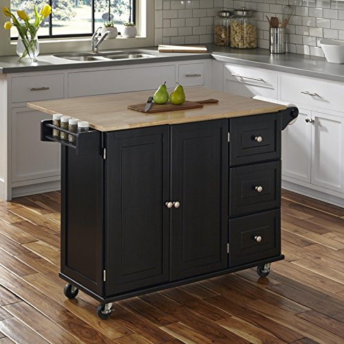 Home Styles Liberty Kitchen Cart With Wood Top Black 0 0