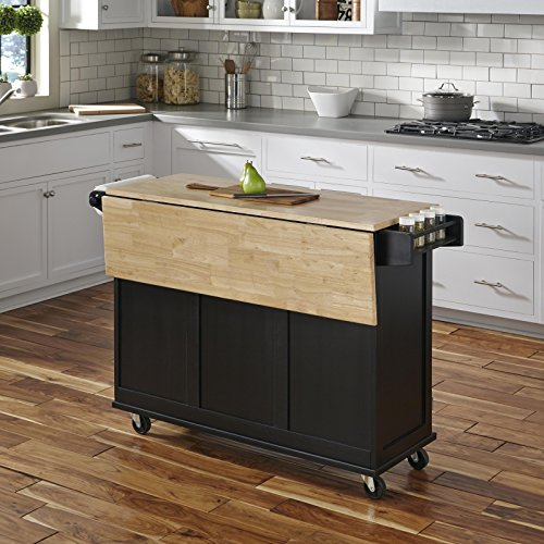 Home Styles Liberty Kitchen Cart With Wood Top Black 0 1