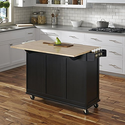 Home Styles Liberty Kitchen Cart With Wood Top Black 0 2