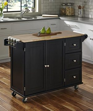 Home Styles Liberty Kitchen Cart With Wood Top Black 0 300x360