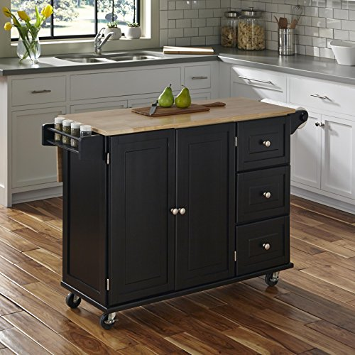 Home Styles Liberty Kitchen Cart With Wood Top Black 0