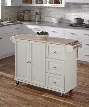 Home Styles Liberty Kitchen Cart With Wood Top White 0 300x360