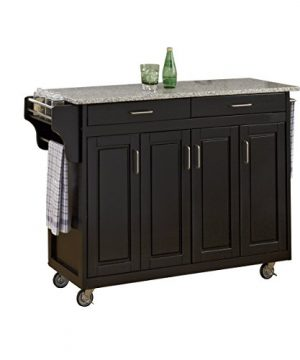 Home Styles Mobile Create A Cart Black Finish Four Door Cabinet Kitchen Cart With Gray Granite Top Adjustable Shelving 0 0 300x360