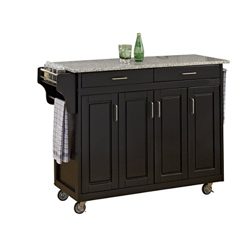 Home Styles Mobile Create A Cart Black Finish Four Door Cabinet Kitchen Cart With Gray Granite Top Adjustable Shelving 0 0