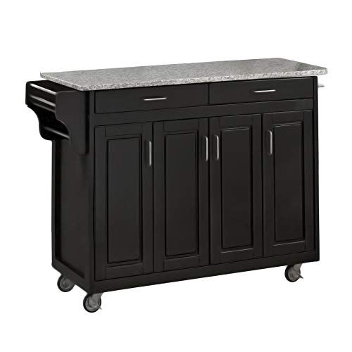 Home Styles Mobile Create A Cart Black Finish Four Door Cabinet Kitchen Cart With Gray Granite Top Adjustable Shelving 0