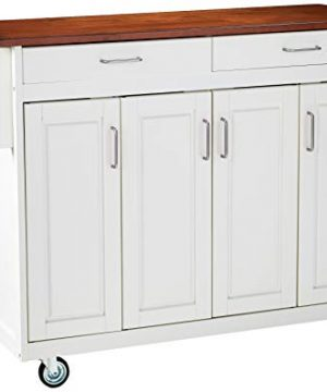 Home Styles Mobile Create A Cart White Finish Four Door Cabinet Kitchen Cart With Rich Oak Wood Top Adjustable Shelving 0 300x360