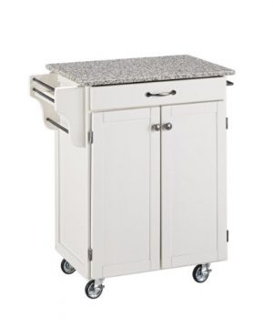 Home Styles Mobile Create A Cart White Finish Two Door Cabinet Kitchen Cart With Salt And Pepper Granite Top Adjustable Shelving 0 300x360