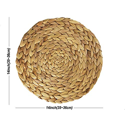 HomeDo 4Pack Extra Large Round Woven Placemats For Dining Table Water Hyacinth Straw Braided Placemat Heat Resistant Non Slip Weave Placemats Handmade Water Hyacinth 4pack Round 14 0 2