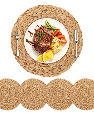 HomeDo 4Pack Extra Large Round Woven Placemats For Dining Table Water Hyacinth Straw Braided Placemat Heat Resistant Non Slip Weave Placemats Handmade Water Hyacinth 4pack Round 14 0 300x360