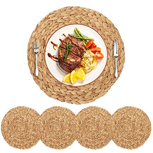 HomeDo 4Pack Extra Large Round Woven Placemats For Dining Table Water Hyacinth Straw Braided Placemat Heat Resistant Non Slip Weave Placemats Handmade Water Hyacinth 4pack Round 14 0