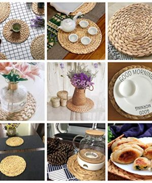 HomeDo 4Pack Large Round Woven Placemats For Dining Table Water Hyacinth Straw Braided Placemat Heat Resistant Non Slip Weave Placemats HandmadeGrass 4 11830cm 0 4 300x360