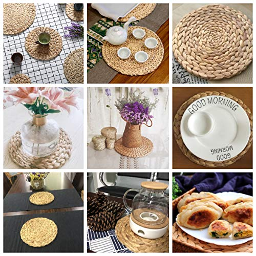 HomeDo 4Pack Large Round Woven Placemats For Dining Table Water Hyacinth Straw Braided Placemat Heat Resistant Non Slip Weave Placemats HandmadeGrass 4 11830cm 0 4