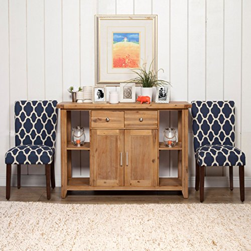 HomePop Parsons Classic Upholstered Accent Dining Chair Set Of 2 Navy And Cream Geometric 0 0