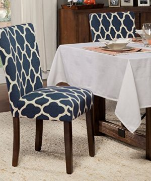 HomePop Parsons Classic Upholstered Accent Dining Chair Set Of 2 Navy And Cream Geometric 0 1 300x360