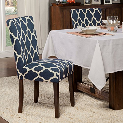 HomePop Parsons Classic Upholstered Accent Dining Chair Set Of 2 Navy And Cream Geometric 0 1
