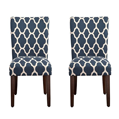 HomePop Parsons Classic Upholstered Accent Dining Chair Set Of 2 Navy And Cream Geometric 0