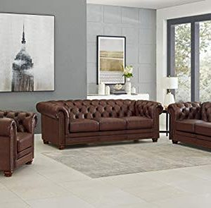 Hydeline Aliso 100 Leather Chesterfield Sofa Couch Set Sofa Loveseat Chair Brown 0 300x295
