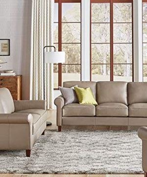 Hydeline Laguna 100 Leather Sofa Couch Set Sofa Loveseat Chair Taupe 0 300x360