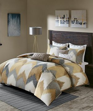 INKIVY Alpine FullQueen Size Bed Comforter Set Yellow Taupe Grey Ivory Pieced Chevron 3 Pieces Bedding Sets 100 Cotton Bedroom Comforters 0 0 300x360