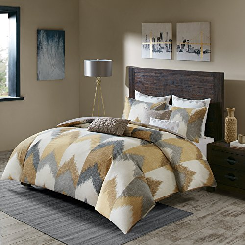 INKIVY Alpine FullQueen Size Bed Comforter Set Yellow Taupe Grey Ivory Pieced Chevron 3 Pieces Bedding Sets 100 Cotton Bedroom Comforters 0 0